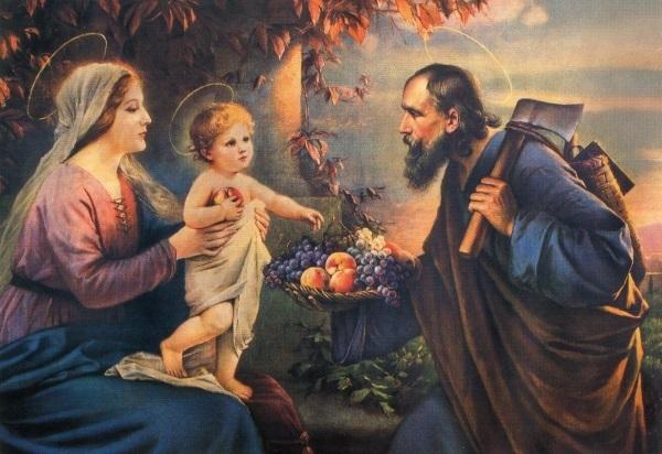 heiligenbild heilige familie postkartenformat mit gebet. Black Bedroom Furniture Sets. Home Design Ideas