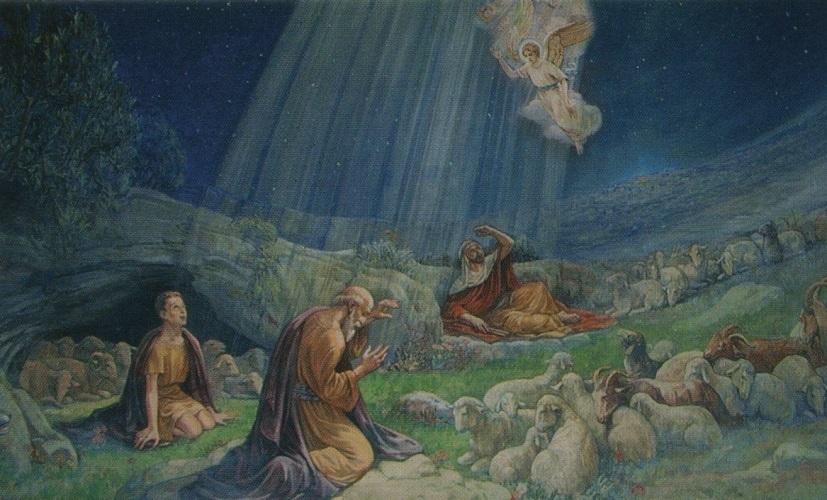 Hirten Bilder Weihnachten.Heiligenbildchen Weihnachten Hirten Und Engel 6 7 X 12 Cm
