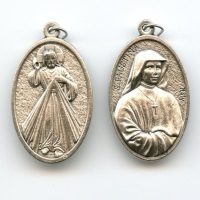 Medaille Barmherziger Jesus Faustyna Neusilber Groß 44 mm