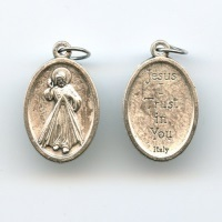 Medaille Barmherziger Jesus Neusilber Jesus, I Trust in You 25 mm