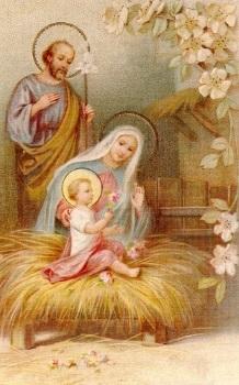 Bilder Krippe Weihnachten.Heiligenbildchen Heilige Familie Krippe Weihnachten 12 X 7 Cm
